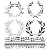 Grinaldas decorativas e estilizadas listras sublinhado — Vetor de Stock