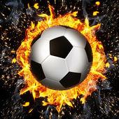 Soccer ball in fire flames — Стоковое фото