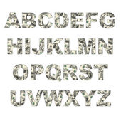 Latters of alphabet made of dollars — Stock Photo