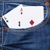 Deck of cards in pocket — Stock Photo