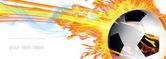 Soccer ball in fire flames — Stock Photo