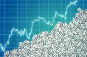 Graphic of rising dollar — Stock Photo