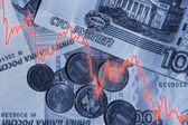Falling ruble — Stock Photo