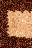 Coffee and sackcloth — Stock Photo