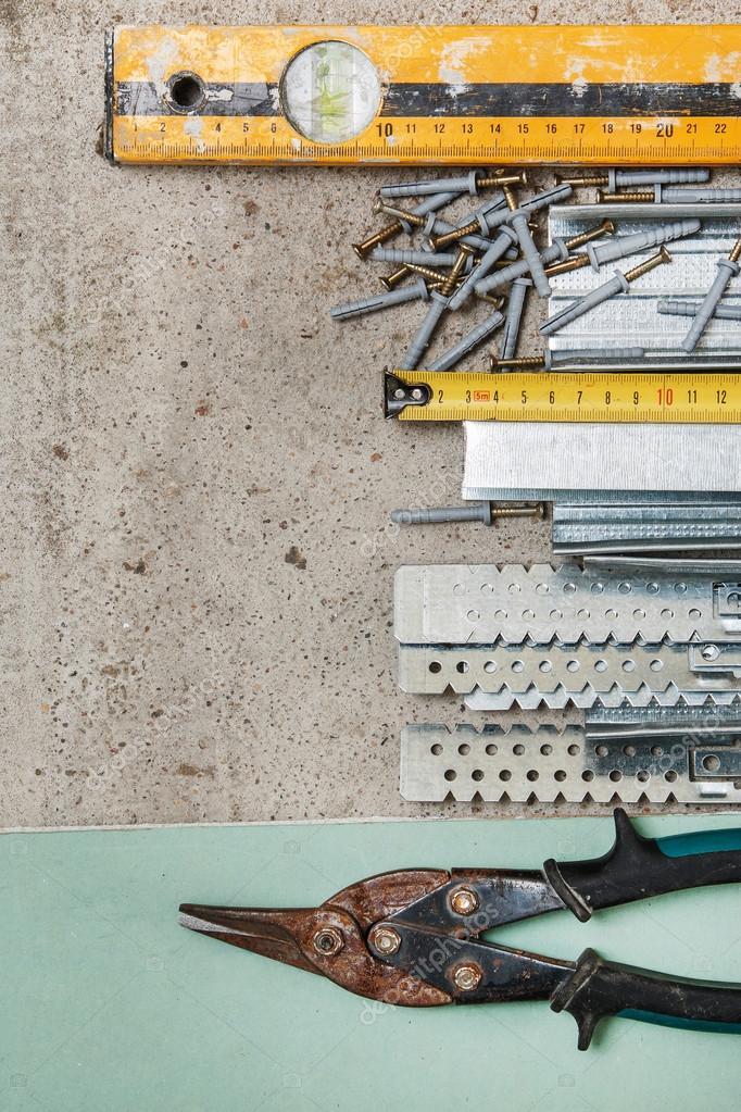 Strumenti per costruire un cartongesso pareti — Foto Stock ...