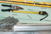 Instruments for build a plasterboard walls — Photo