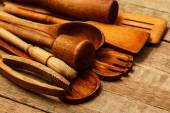 Ustensiles de cuisine en bois — Photo