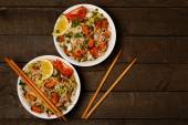 Noodles with seafood — Stock Photo