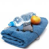 Different items for fitness workout — Stock Photo