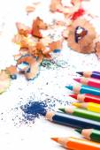 Multicolored pencils and shavings — Stock Photo