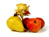 Fruits and rose — Stock Photo