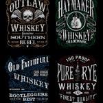 Vintage Whiskey Label T-shirt Graphic Set — Vecteur #55636687