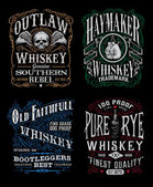 Vintage Whiskey Label T-shirt Graphic Set — Stock Vector