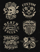 One color vintage motorcycle graphic set — Stockvektor