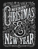 Vintage Christmas and New Year Chalkboard Typography Lockup — Stockvektor