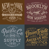 Vintage Workwear Graphics Set — Stock Vector