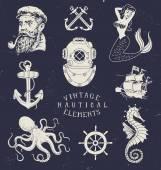 Vintage Hand Drawn Nautical Set — Stock Vector