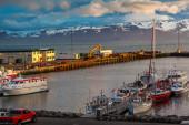 Boats anchored at Husavik harbor — Stock Photo