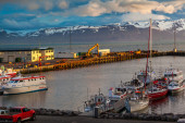 Boats anchored at Husavik harbor — Stockfoto