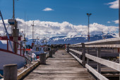 Empty jetty with boats — Stock Photo