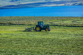 Tractor bringing in hay bales — Stock Photo