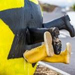 Fun yellow street art — Stock Photo #52173249
