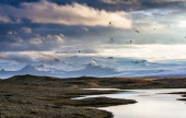 Landscape with snowy mountains — Stock Photo