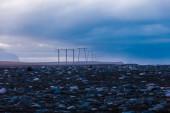 Torres de electricidad al atardecer — Foto de Stock