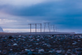 Electricity pylons at sunset — Stock Photo