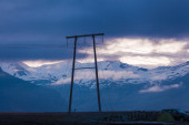 Electricity pylon at twilight — Foto Stock
