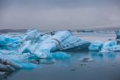 Floating blue icebergs — Stock Photo
