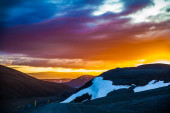 Dramatic fiery sunset in Iceland — Stock Photo