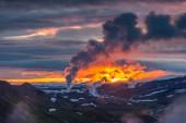 Coucher de soleil sur les montagnes — Photo
