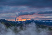 Sunset over mountains in Iceland — Stock Photo