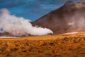 Geothermal vent letting off steam — Stock Photo
