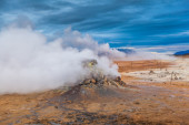 Clouds of vapour from geothermal vents — Stock Photo