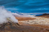 Geothermal vent letting off steam — Stok fotoğraf