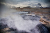 Steam from active geothermal vents — Stock Photo