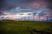 Skyline against a sunset sky — Stock Photo