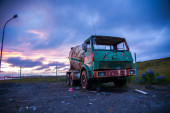 Rusty old cement mixer truck — Stock Photo