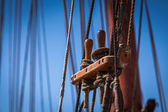 Old vintage wooden rigging — Stock Photo