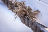 Frayed rope on a boat — Stock Photo