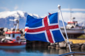 Icelandic flag flying — Stock Photo