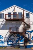 External spiral metal staircase — Stock Photo