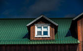 Dormer window with blinds — Stock Photo