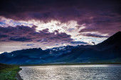 Stormy sunset over the coast — Stock Photo