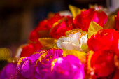 Glittery roses of fabric — Stock Photo