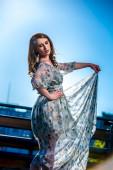 Woman in a nice dress — Zdjęcie stockowe