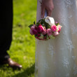 Wedding bouquet out of white and pink roses — Stock Photo #54564449
