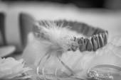 Blue satin garter — Stock Photo